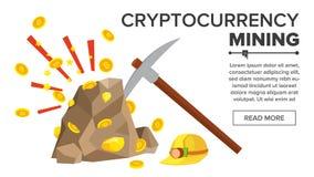 Roccia con il vettore delle monete di oro Concetto di Bitcoin Cryptocurrency Miniera, scelta, casco Scavatura per ottenere le mon Fotografia Stock