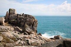 Roccia del dente, isole di Scilly. fotografia stock