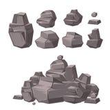 Roccia del fumetto 3d, pietre del granito, pila di insieme di vettore dei massi, elementi di architettura per progettazione d'abb Immagine Stock