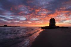 Roccia ad alba, Christchurch, Nuova Zelanda del tessuto felpato Fotografie Stock Libere da Diritti
