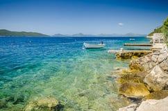 Roccia della baia del mare adriatico Immagini Stock Libere da Diritti