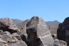 Roccia della maschera dell'nativo americano in Arizona Fotografia Stock