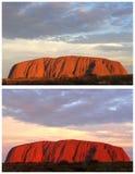 Roccia di Ayers del collage durante il tramonto Fotografia Stock