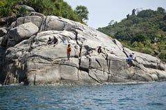 Roccia di pesca Fotografie Stock