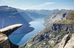Roccia di Trolltunga in Norvegia Fotografia Stock Libera da Diritti