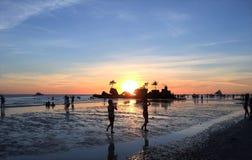 Roccia di Willys e tramonto di Boracay Fotografia Stock Libera da Diritti