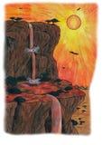 Roccia e cascata (2009) Immagini Stock