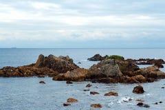 Roccia e pino della spiaggia di Minami Izu Ose fotografie stock
