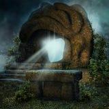 Roccia magica e un altare di pietra Fotografia Stock
