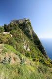 Roccia, mare, fortezza, legno ed erba Fotografia Stock