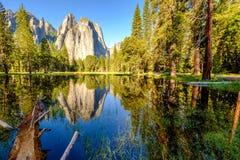 Roccia media della cattedrale che riflette nel fiume di Merced a Yosemite Fotografia Stock