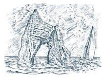 Roccia nel mare Paesaggio dell'annata Nave di navigazione alla montagna di pietra nell'oceano Cancello dorato Koktebel in Crimea illustrazione di stock