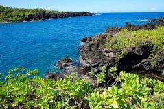 Roccia nera in Maui Hawai Immagini Stock
