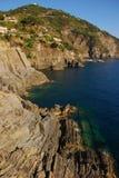 Roccia stratificata di Cinque Terre Immagini Stock Libere da Diritti