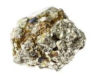 rocha áspera da pirite de ferro (pirite do enxofre) no branco imagens de stock