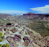 A rocha branca negligencia - Rio Grande Valley, New mexico Foto de Stock