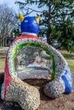 Rocha Cat Sculpture With Mosaics de Louis Laumeier Park With Colorful de Saint fotografia de stock