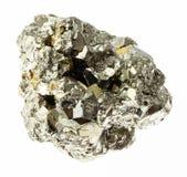 rocha crua da pirite de ferro (pirite do enxofre) no branco fotos de stock