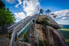 Rocha da chaminé, no parque estadual da rocha da chaminé, North Carolina fotos de stock royalty free