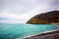 Rocha de pedra no Mar Negro fotografia de stock royalty free