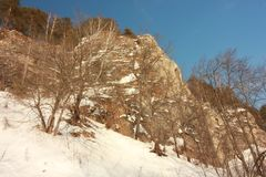 A rocha de Yermak Rio de Sivla Região de Ural Imagens de Stock Royalty Free