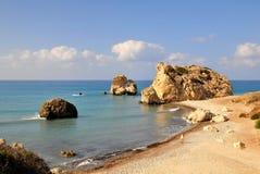 Rocha do Aphrodite, Chipre. Foto de Stock