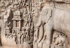 Rocha dos elefantes em Mamallapuram Fotografia de Stock