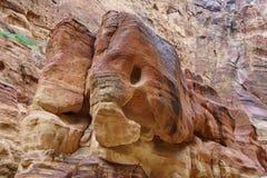 Rocha em PETRA, Jordânia da silhueta do elefante Fotos de Stock