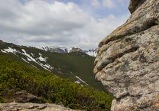 Rocha em um fundo de montanhas de Carpathians ucrânia Fotos de Stock