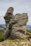 Rocha em um fundo de montanhas de Carpathians ucrânia Fotografia de Stock