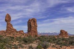 Rocha equilibrada no parque nacional dos arcos perto de Moab, Utá Fotografia de Stock Royalty Free