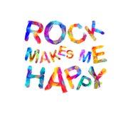 A rocha faz-me feliz Letras triangulares Imagens de Stock Royalty Free