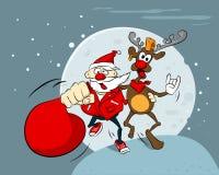Rocha louca Santa e rena Ilustração engraçada do vetor Fotos de Stock Royalty Free