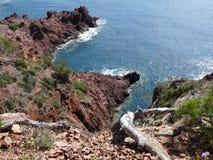 Rocha, mar, Riviera francês, Saint Tropez, França Imagens de Stock