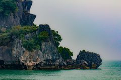 Rocha na baía de Halong, Vietname Fotografia de Stock Royalty Free