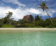 Rocha, palma-árvores na praia tropical do paradice. Foto de Stock
