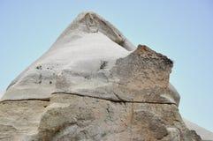 Rocha rachada, Rose Valley vermelha, Goreme, Cappadocia, Turquia fotografia de stock