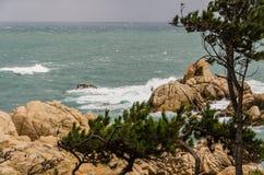 Rochas amarelas que aumentam das profundidades do mar azul esverdeado Imagens de Stock