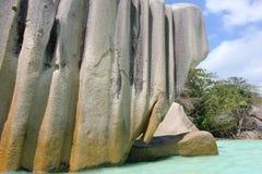 Rochas bonitas na praia da ilha de Digue do La Imagem de Stock Royalty Free
