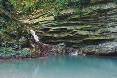 Rochas cobertos de vegetação com a hera e o musgo com a cachoeira tranquilo de fluxo imagem de stock