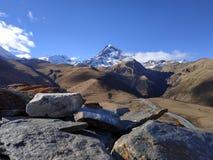 Rochas com fundo Neve-tampado da montanha foto de stock