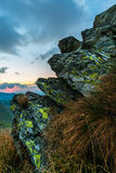 Rochas da montanha no por do sol Fotografia de Stock