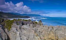 Rochas da panqueca de Punakaiki Fotos de Stock Royalty Free