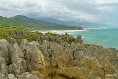 Rochas da panqueca de Punakaiki, costa oeste, Nova Zelândia 37 fotografia de stock