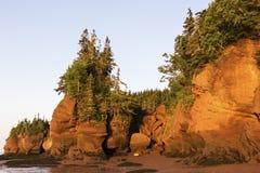 Rochas de Hopewell em Canadá no nascer do sol Fotografia de Stock Royalty Free