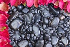 Rochas do preto deixadas e superior limitado pelas folhas vermelhas Fotografia de Stock Royalty Free