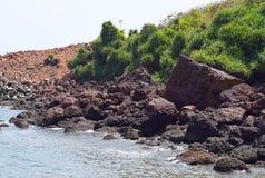 Rochas e grama verde na costa Imagens de Stock Royalty Free