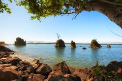 Rochas Intertidal na baía de Tillamook foto de stock royalty free