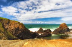 Rochas Intertidal na praia da rocha do selo fotografia de stock royalty free