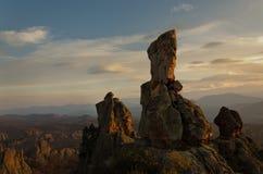 Rochas magníficas do arenito em Belogradchik, Bulgária Foto de Stock
